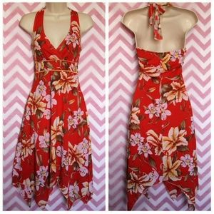 Vol. 7 Pretty Red Floral Halter Dress Size S